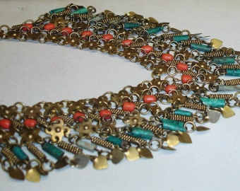 Vintage Egyptian Made Faience & Coral Glass Beads Brass Collar Dangles Belly Dance Necklace