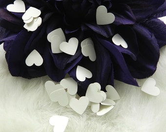 100 White Mini Heart Confetti, Weddings, Anniversaries, Parties, Table Decorations, Size 1/2 inch, Acid and Lignin Free, 65lb Cardst