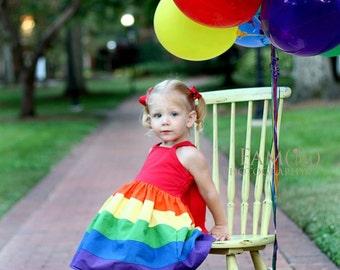 Girls Rainbow Dress, Rainbow Knot Dress, Rainbow Party Dress, Double Ruffle Pants, Rainbow Pants, Girls Dress, Rainbow Party, Girls Outfit