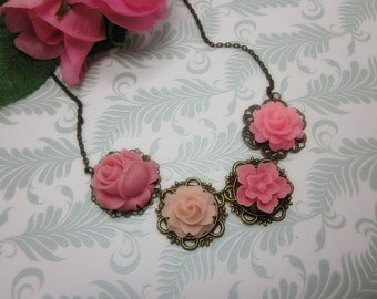Pink Flowers Necklace. Gift for her.  Anniversary, Birthday, Bridesmaids, Maid of Honor.