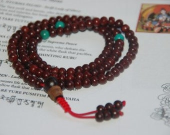 Rosewood 108 beads 4.5mm with turquoise for meditation RM-12