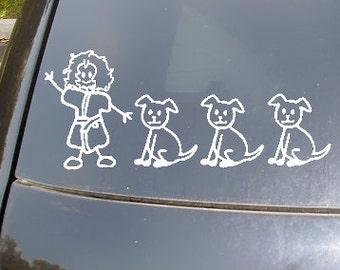 "Crazy Dog Lady ""Family"" Car Sticker Set of 4"