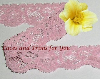 Rose Lace Trim Stretch 8/16 Yards Floral Picot 1 inch P21A Added Items Ship No Charge