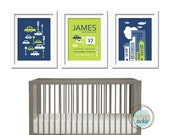 Boys Room Art Print- City Living Personalized- Set of 3 - 11X14 Inches, Play Room, Personalized Birth Announcement, Gift for Kids