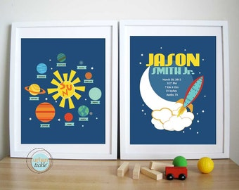 Planets Birth Announcement, 8.5X11 Inches, Set of 2, Nursery Decor, Room decor, Birthday gift, Baby gift