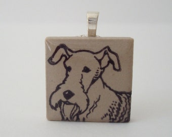 Fox Terrier Dog Necklace Rubber Stamped Porcelain Tile Pendant