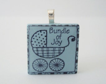 New Mom Jewelry Baby Carriage Necklace Rubber Stamped Porcelain Tile Pendant Blue