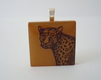 Leopard Necklace Wild Cat Jewelry Porcelain Tile Pendant Rubber Stamped