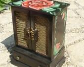 Handpainted Rose Jewelry Box --- 5 drawers