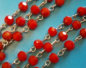 36  Inches of 6mm Opaque  Cardinal Red Faceted Round  Glass Beaded Rosary Chain Links