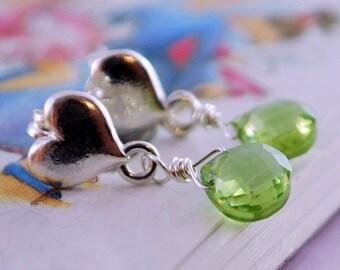 Genuine Peridot Earrings for Girls, Lime Green, AAA Gemstone, Sterling Silver, Heart Ear Posts, Wire Wrapped Jewelry, August Birthstone