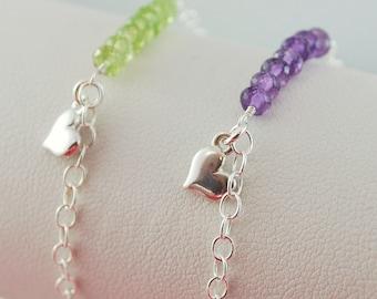 Best Friends Bracelets Friendship Jewelry Sterling Silver Set of Two Genuine Semiprecious Gemstone Custom Made Birthstone
