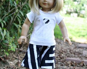 """American Girl 18"""" Doll Outfit - Black and White Capri Pants and White T-Shirt  Clothing"""