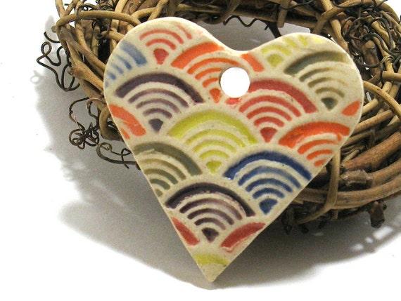 Rainbow Heart Pendant - OOAK Ceramic Focal Pendant