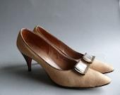 1950s high heels / Cowhide Fur Heels with bronze buckles sz 8