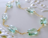 Gemstone Necklace, Green Amethyst Prasiolite, AAA Semiprecious Gemstone, Rectangles, Wire Wrapped Gold Jewelry, Free Shipping