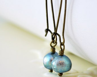 Antiqued Brass Earrings Denim Blue Genuine Freshwater Pearl Woodland Simple Wire Wrapped Kidney Earwires Fall Jewelry Complimentary Shipping