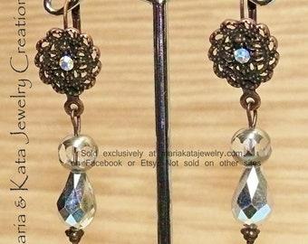 Iridescent bead  teardrop beads on Cooper pewter/rhinestone dangle earrings
