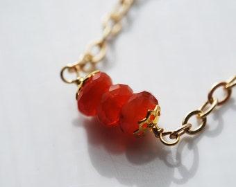 Carnelian Gold Plated  Bracelet