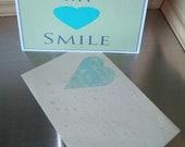 Happy birthday card handmade teal heart unique unisex love birthday greeting