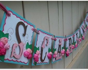 Handmade Banner - Custom made - GO GREEN - Name Banner Happy Birthday Baby Shower Bridal Shower