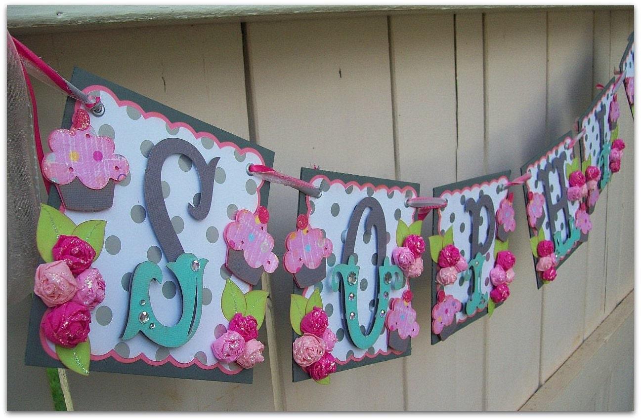 handmade banner custom made go green name banner happy