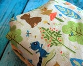 Minky Baby Blanket - Woodland Tails Bears in Green and Your Choice of Minky Color - Personalization Options Available - Made to Order