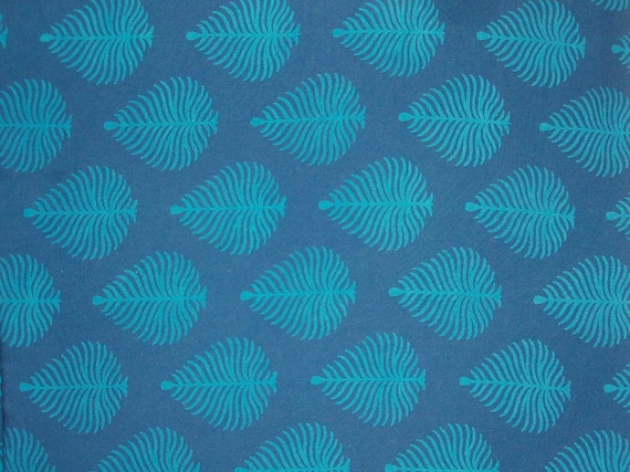 Hand block printed cotton fabric in Soothing Blues
