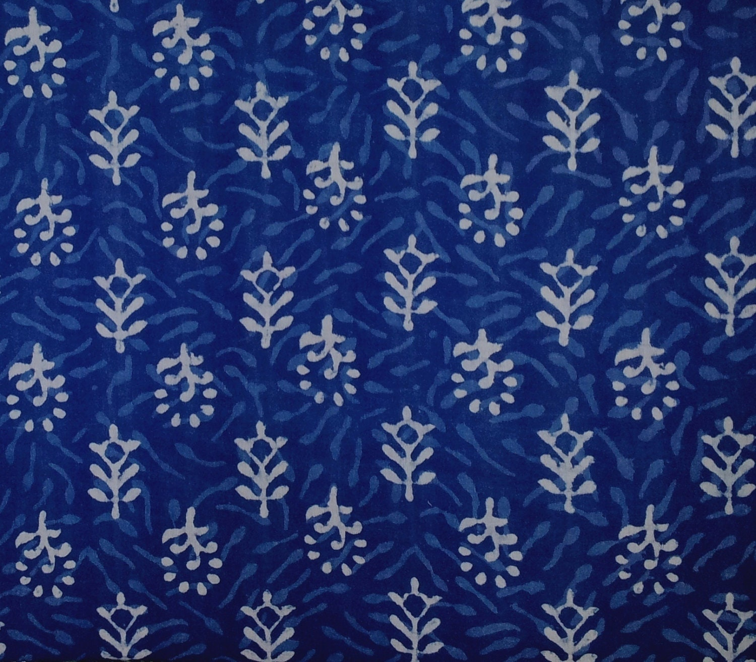 Indigo fabric batik organic cotton hand block printed for Printed cotton fabric