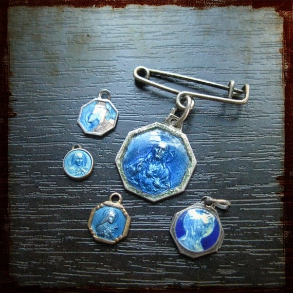 Antique set of French silver blue enamel religious Medals - instant collection of silver charms for repurposed jewelry projects