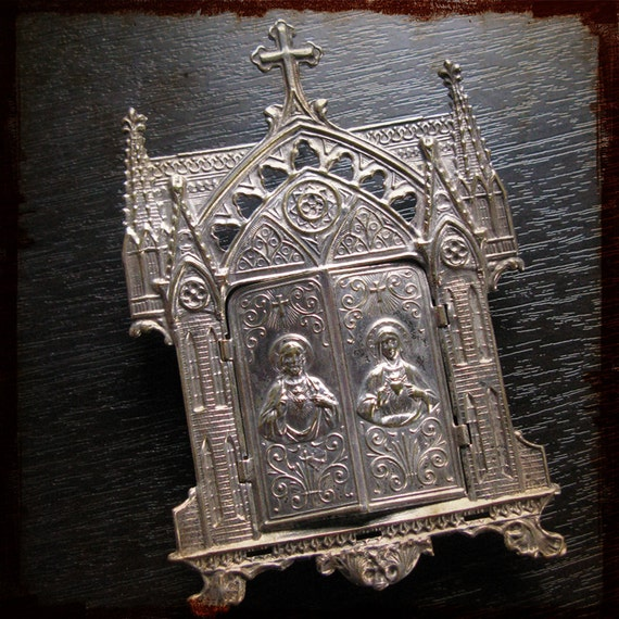 Antique Religious French Silver Shrine Oratory pendant - embossed silver plated, distressed, assemblage