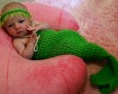 Baby Mermaid Cocoon Photo Prop - Newborn Lime Green - Girls - Boys - Ocean - Made to Order
