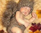 Newborn Baby SQUIRREL Hat and DIAPER Cover Photo Prop - Boy - Girl - REBORN Doll - Made to order - Brown Taupe