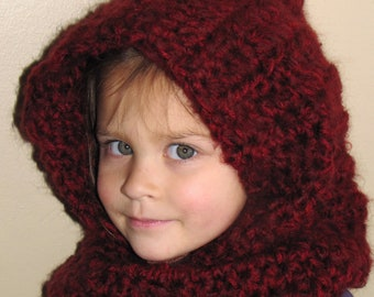 Toddler or Child SCOODIE - Red or Virtually Any Color - Hat - Cowl - Winter - Crochet