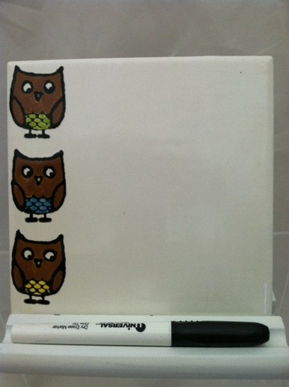 Owls Dry Erase Board Ceramic Tile With By Shadylaneceramics