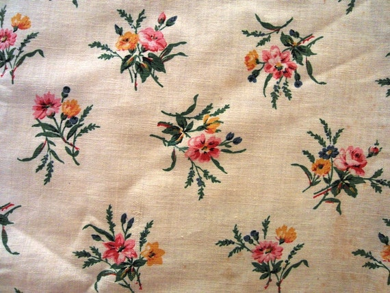 Old FRENCH FABRIC little bounches of  Wild FLOWERS