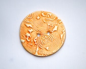 Japanese Koi Carp button Bright Orange Gold Fish button Traditional Tattoo art button