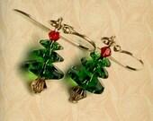 Christmas Tree Swarovski Crystal Holiday Earrings