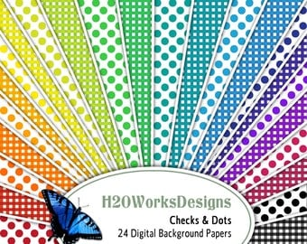 Checks, Dots 8.5x11 Digital Backgrounds (Set of 24) Rainbow, Gingham, Polka Dots, Multicolor, Scrapbooking, Card Making, PRINTABLE PAPER