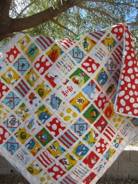 Cat In The Hat ....A Fray Edge Quilt for Boy or Girl