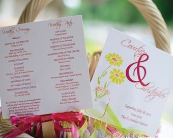Wedding Fan Program with Mason Jar Design - Mounted on a Wooden Stick - Double Sided