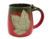 Stoneware Pottery Mug with Leaf