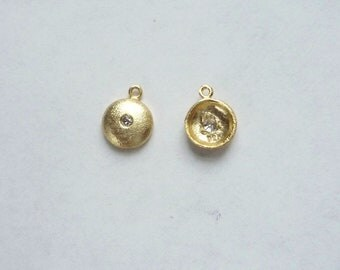 2 pcs Gold Vermeil ,small round charms with cz (7x9mm),.925 stamped, gold plated sterling silver
