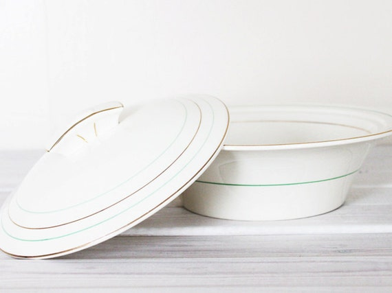 SALE Vintage Lidded Tureen Bowl Serving Vegetable Soup Art Deco Style Green Gold Cream Parek Johnson Bros