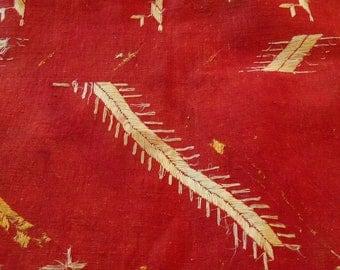 Embroidered Needlework on Textured Cotton, India, Hand Sewn, 1970s
