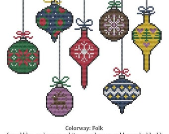 Holiday Christmas Ornament Cross Stitch Pattern Winter Yule Solstice 4 color palettes