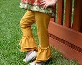 Mustard yellow goldenrod knit leggings with double ruffles sizes 12m - 12 girls
