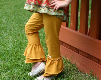 Mustard yellow goldenrod knit leggings with double ruffles sizes 12m - 14 girls