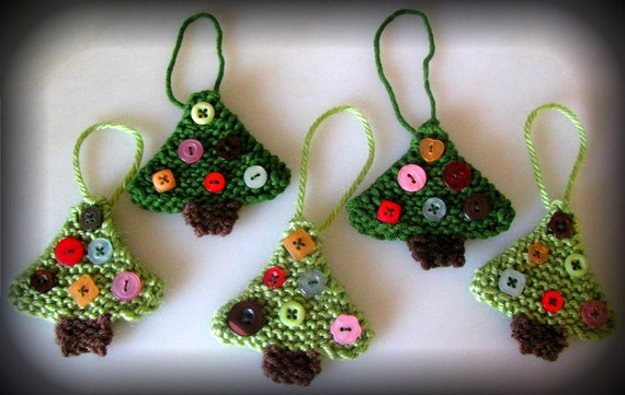 Christmas Tree Ornaments Hand Knitted Button By TrendsOfBend