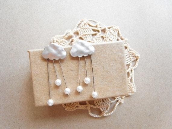 Summer rain cloud earrings  - raindrop in silver